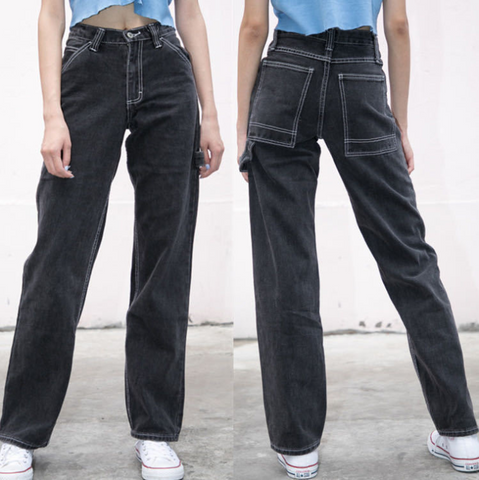 SKINNY HIGH RISE STRAIGHT JEANS