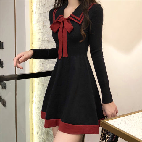 CONTRAST BOW KNITTED DRESS