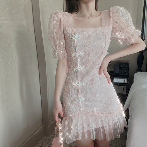SEQUINED FLORAL LACE EMBROIDERED PUFF SLEEVE MESH DRESS