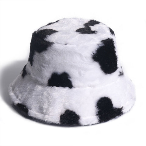 COW PRINT FAUX FUR BUCKET HAT
