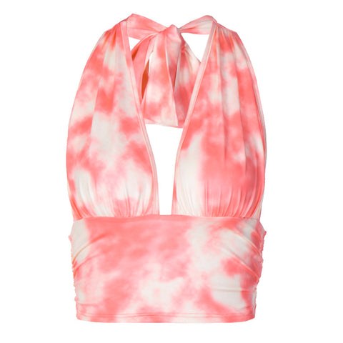 TIE DYE WRAPPED CHEST BELTED VEST