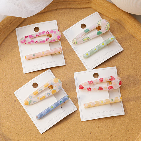 COLOR FRUIT FLOWER HAIR CLIP (8 PCS)