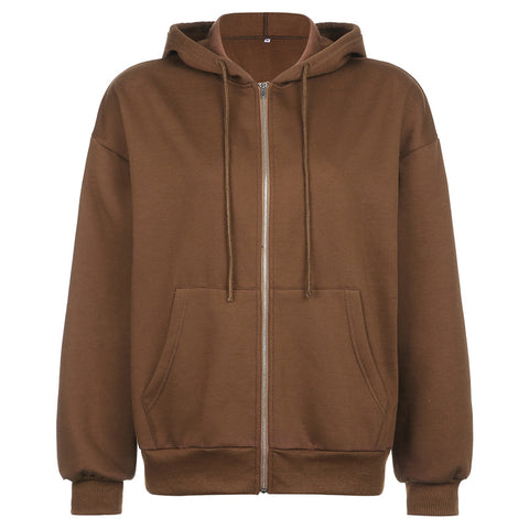 SOLID COLOR LARGE POCKET ZIPPER HOODIE