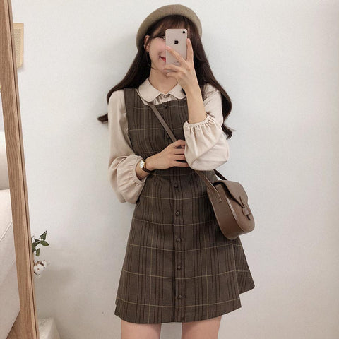 RETRO CHECK STRAP DRESS OR DOLL COLLAR SHIRT