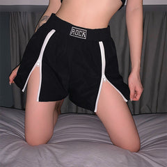 FEATURED ZIPPER SLIT HIGH WAIST SHORTS