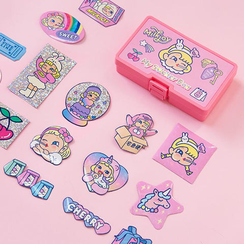 CARTOON GIRLY HEART STICKER WITH REFILL (32 PCS)