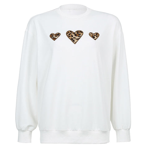 LEOPARD HEART PULLOVER SWEATER