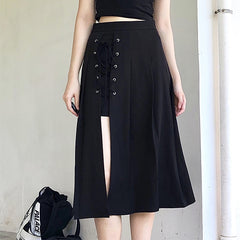 SPLIT PLEATED TIE MIDI SKIRT