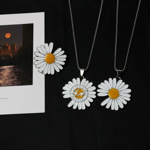NOTCHED DAISY NECKLACE BROOCH SET(3 PCS)