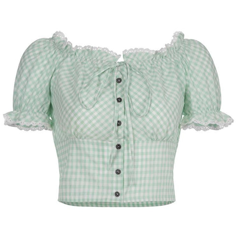 LACE RUFFLE CHECKERBOARD TOP