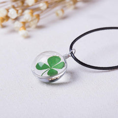 FOUR LEAF CLOVER GLASS BALL NECKLACE