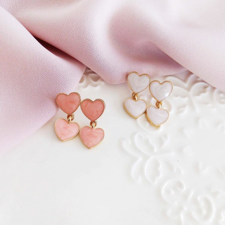 SWEET DOUBLE HEART MARBLE  EARRINGS (2 pairs)