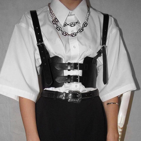 ADJUSTABLE WAIST LEATHER STRAP VEST