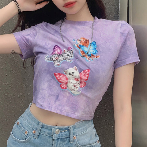 TIE DYE ANGEL CAT PRINT CROP TOP