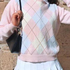 PINK DIAMOND CHECKED PULLOVER SWEATER