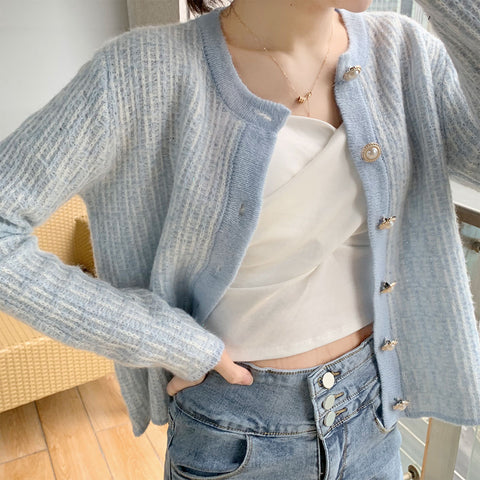 LITTLE FRAGRANT KNIT CARDIGAN SWEATER