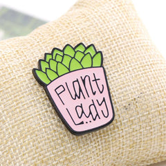 CUTE PLANT LADY PINS (SET/2PCS)