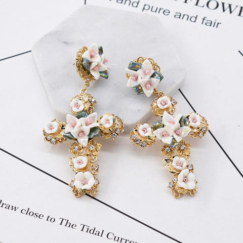 BAROQUE FLORAL CROSS CERAMIC EARRINGS