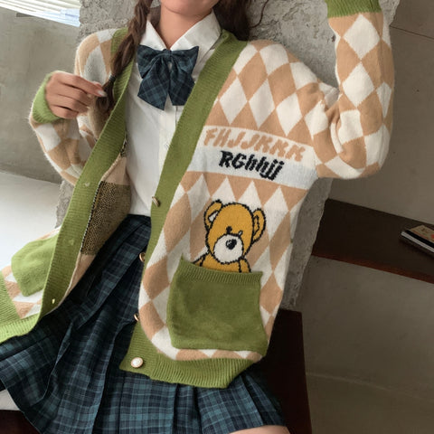 BEAR DIAMOND KNIT SWEATER CARDIGAN