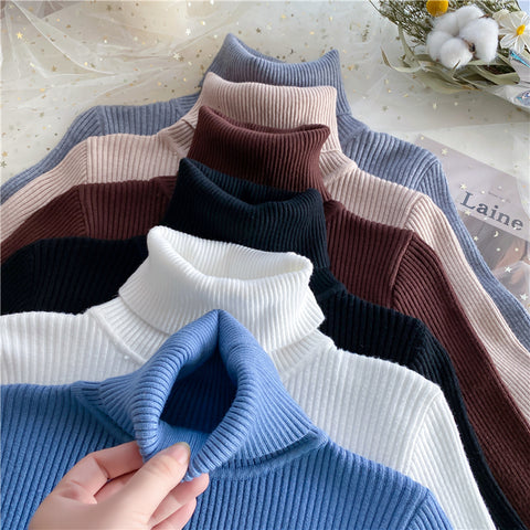 SOLID COLOR TURTLENECK KNIT BOTTOMING SHIRT