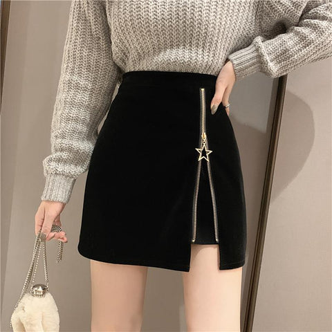 STAR ZIPPER HIP SKIRT