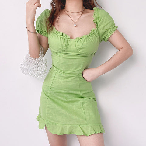 SQUARE COLLAR LACE WRAP HIP SHORT SLEEVE DRESS