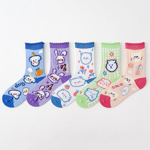 ANIMAL PARTY PRINT SOCKS (5 pairs)