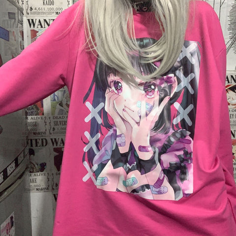 BAND-AID GIRL PRINT PULLOVER SWEATSHIRT
