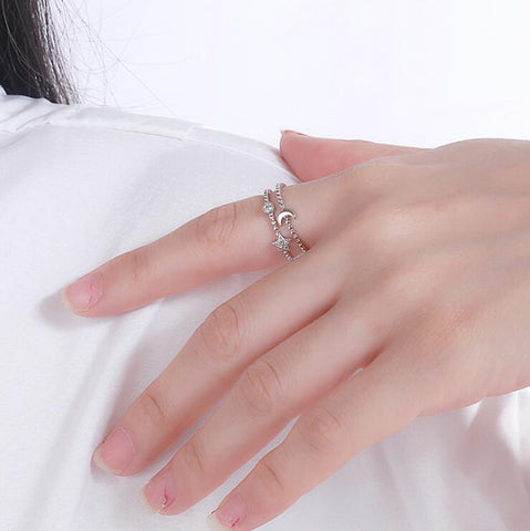 DOUBLE TWIST STAR AND MOON OPEN RING