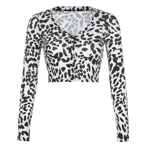 LEOPARD PRINT LONG SLEEVE CARDIGAN TOP
