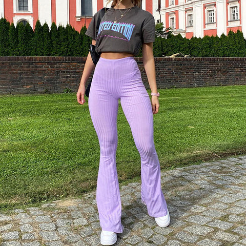 PURPLE HIGH WAIST CASUAL FLARED PANTS