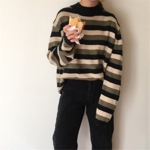 KOREAN STRIPED PULLOVER SWEATER