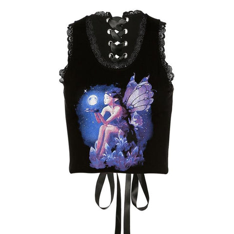 FANTASY BUTTERFLY GIRL LACE TRIM VEST