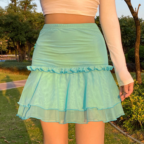 DOUBLE-LAYER MESH PLEATED SKIRT