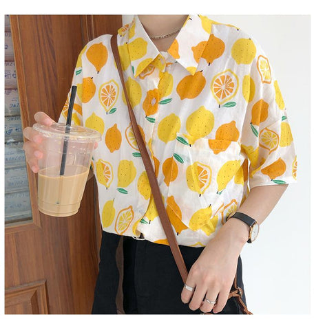 LEMON PRINT SHORT SLEEVE SHIRT