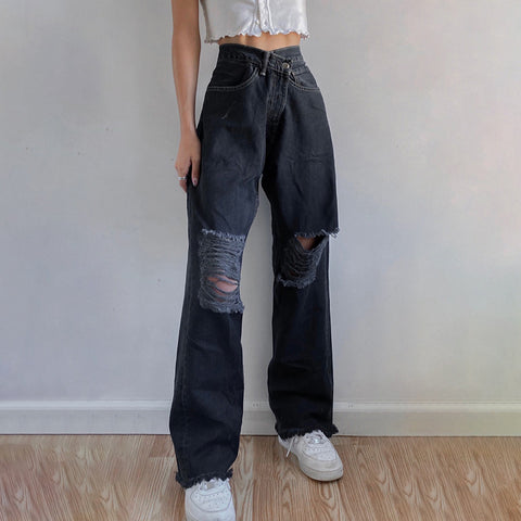 RIPPED EDGES HIGH STREET JEANS
