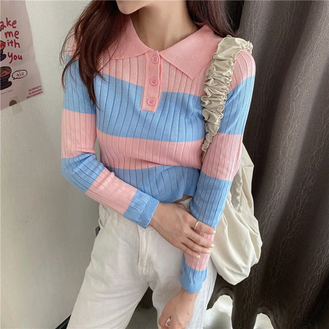 CONTRAST STRIPED LAPEL LONG SLEEVE TOP