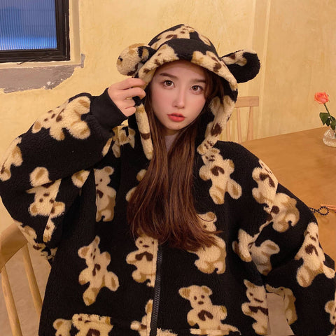 CUTE BEAR FUR HOODED COAT