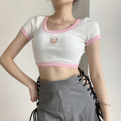 GODS CAT EMBROIDERED CROP TOP