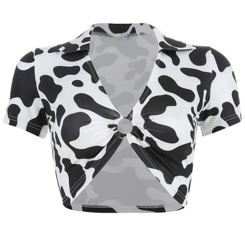 COW HOLLOW RING LAPEL T-SHIRT