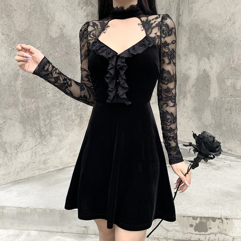 HOLLOW LACE STITCHING LONG SLEEVE DRESS