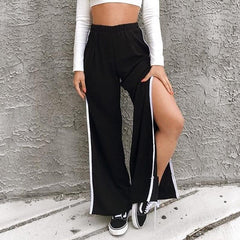 SIDE WHITE STRIPE SPLIT WIDE LEG PANTS
