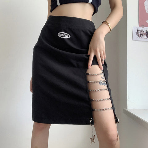 CHAINED FITTED IRREGULAR SKIRT