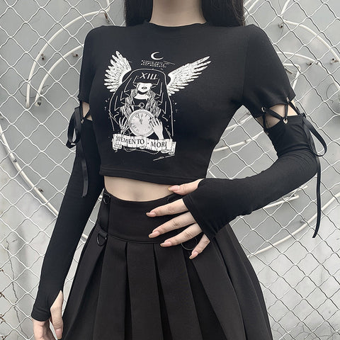 DARK WIND LACE STITCHING LONG SLEEVE TOP