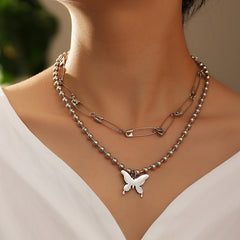 PUNK PIN BUTTERFLY PENDANT DOUBLE LAYER NECKLACE