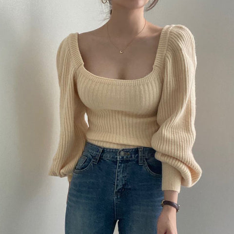 SQUARE COLLAR LANTERN SLEEVE KNIT PIT STRIPED TOP