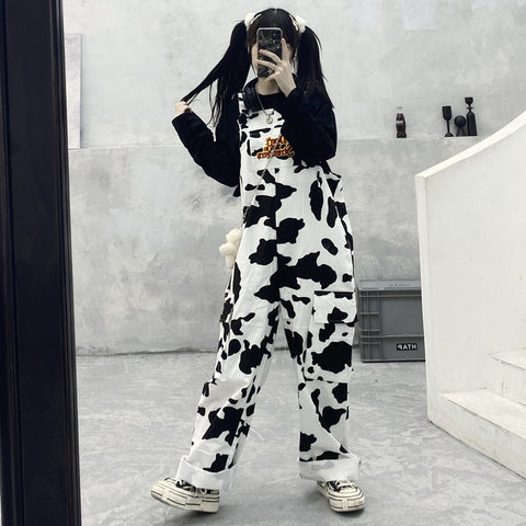 COW OR CHECKERBOARD PRINT CARGO OVERALLS