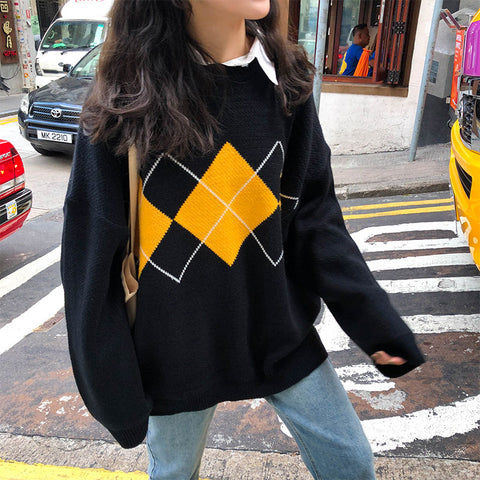 DIAMOND CHECK CREW NECK PULLOVER KNIT SWEATER