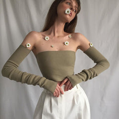 ARMY GREEN KNIT TUBE TOP WITH SLEEVES