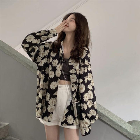 DAISY FLOWER PRINT LONG SLEEVE SHIRT